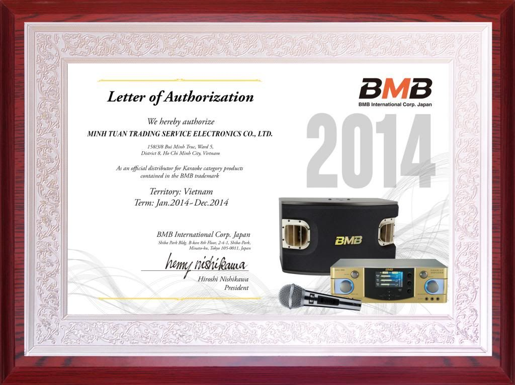 Certificate BMB Việt Nam 2014