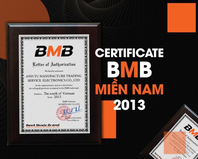 Certificate bmb miền nam 2013