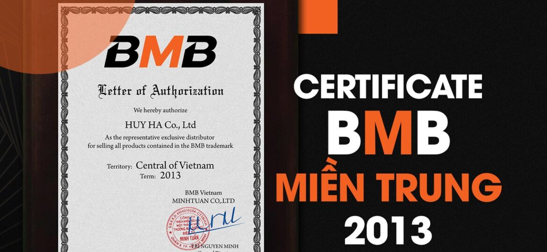 Certificate bmb miền trung 2013