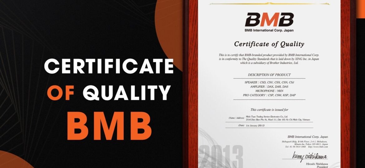 Certificate of quality bmb